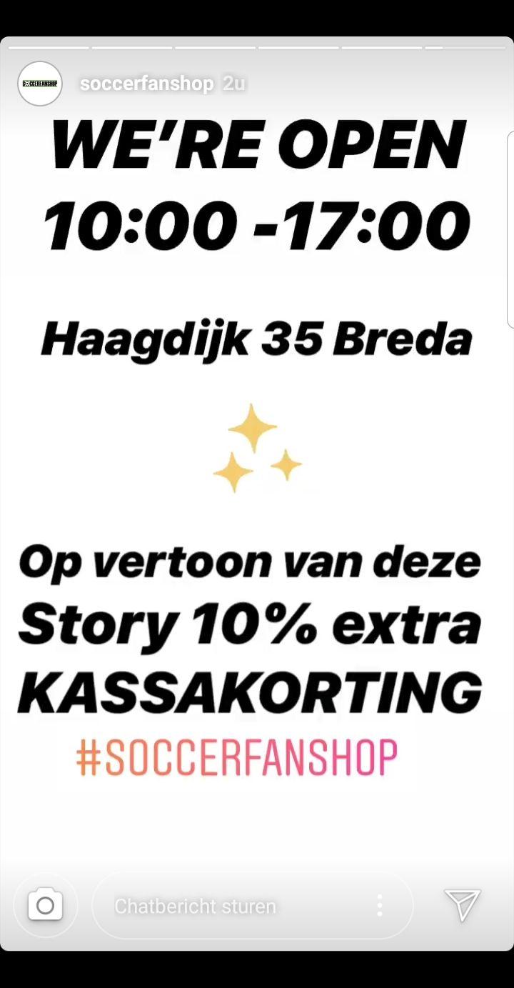 (Lokaal) 10% kassakorting bij soccerfanshop Breda