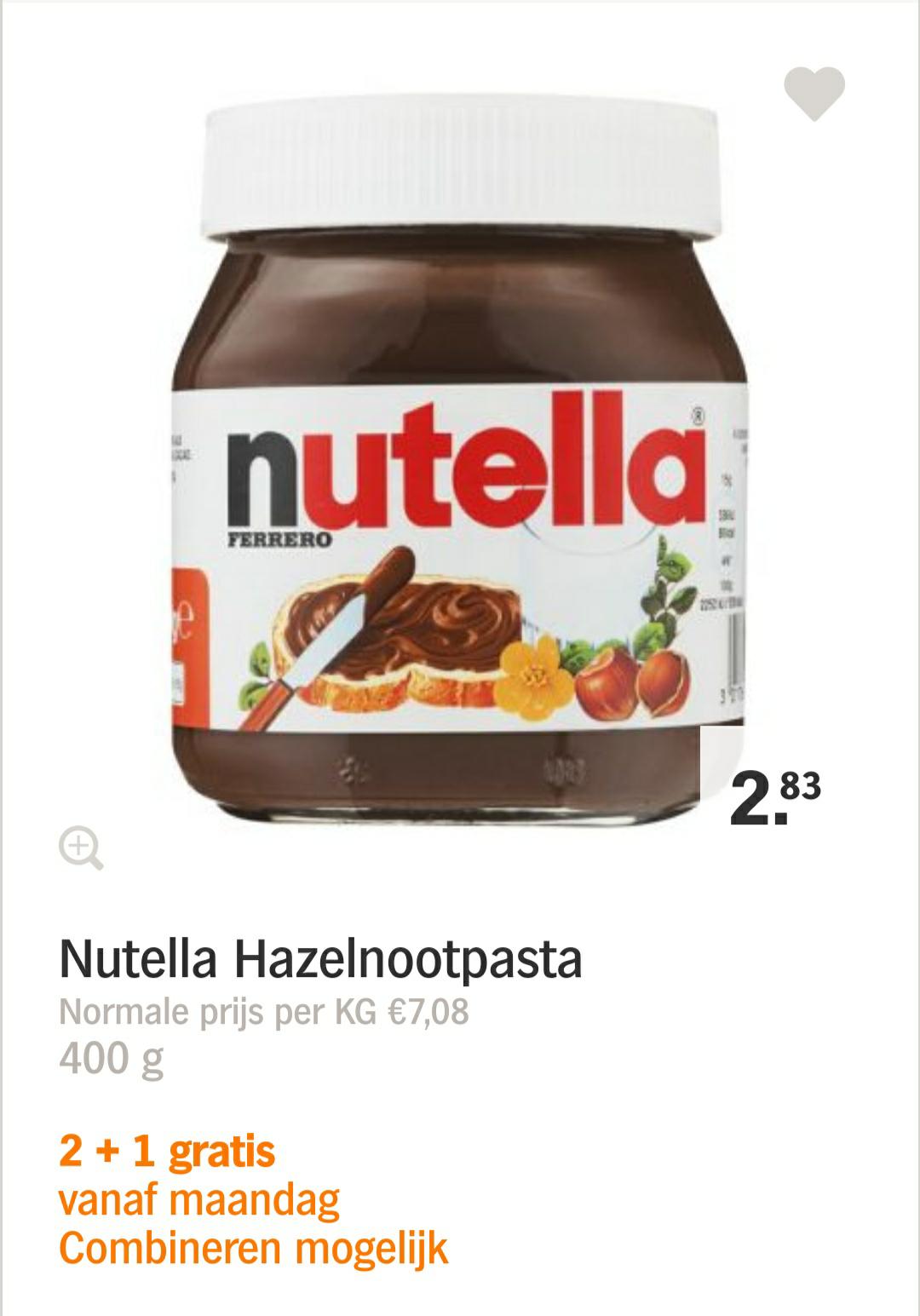 Nutella 2+1 gratis @ AH (alle A-merk zoet broodbeleg en pindakaas)