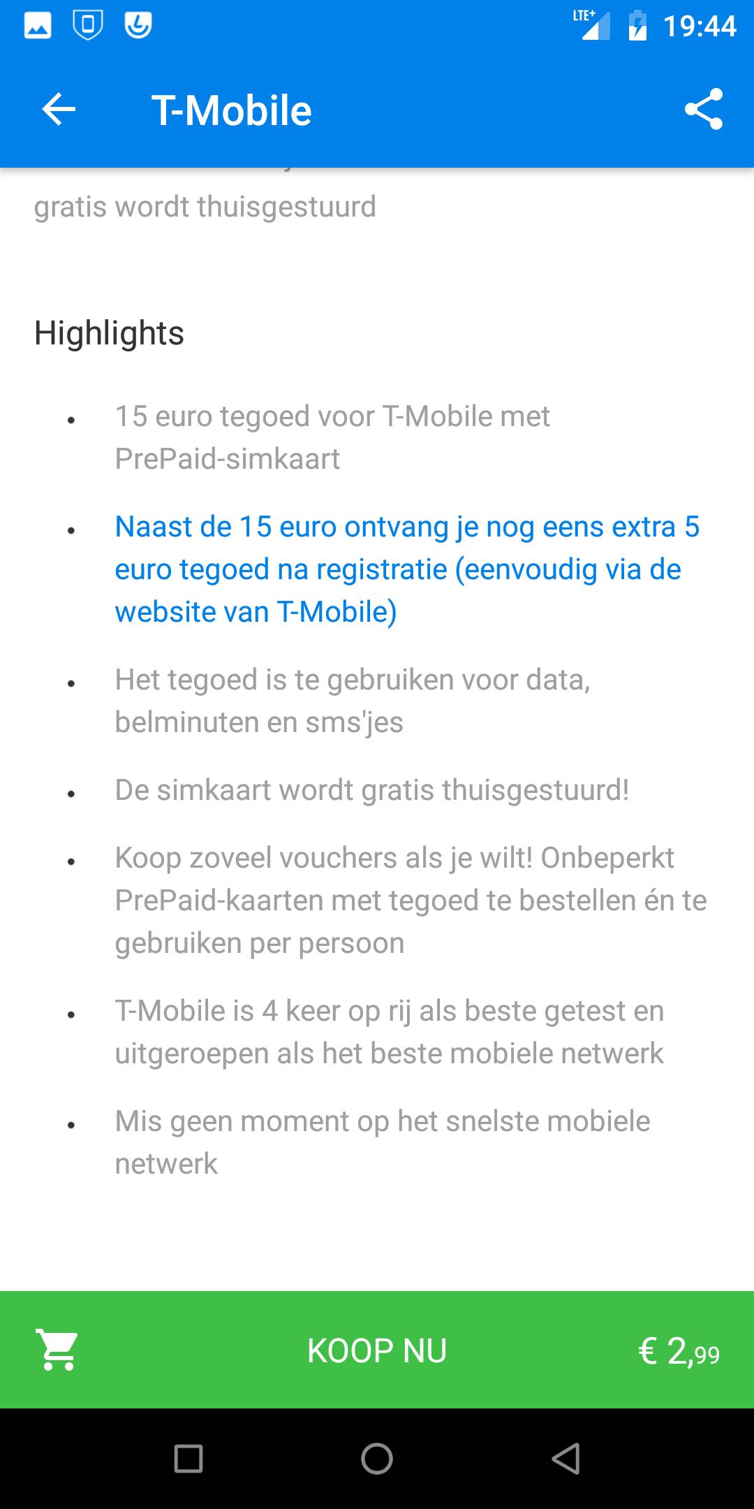 T-Mobile prepaid simkaart met 15 euro beltegoed @ Social Deal