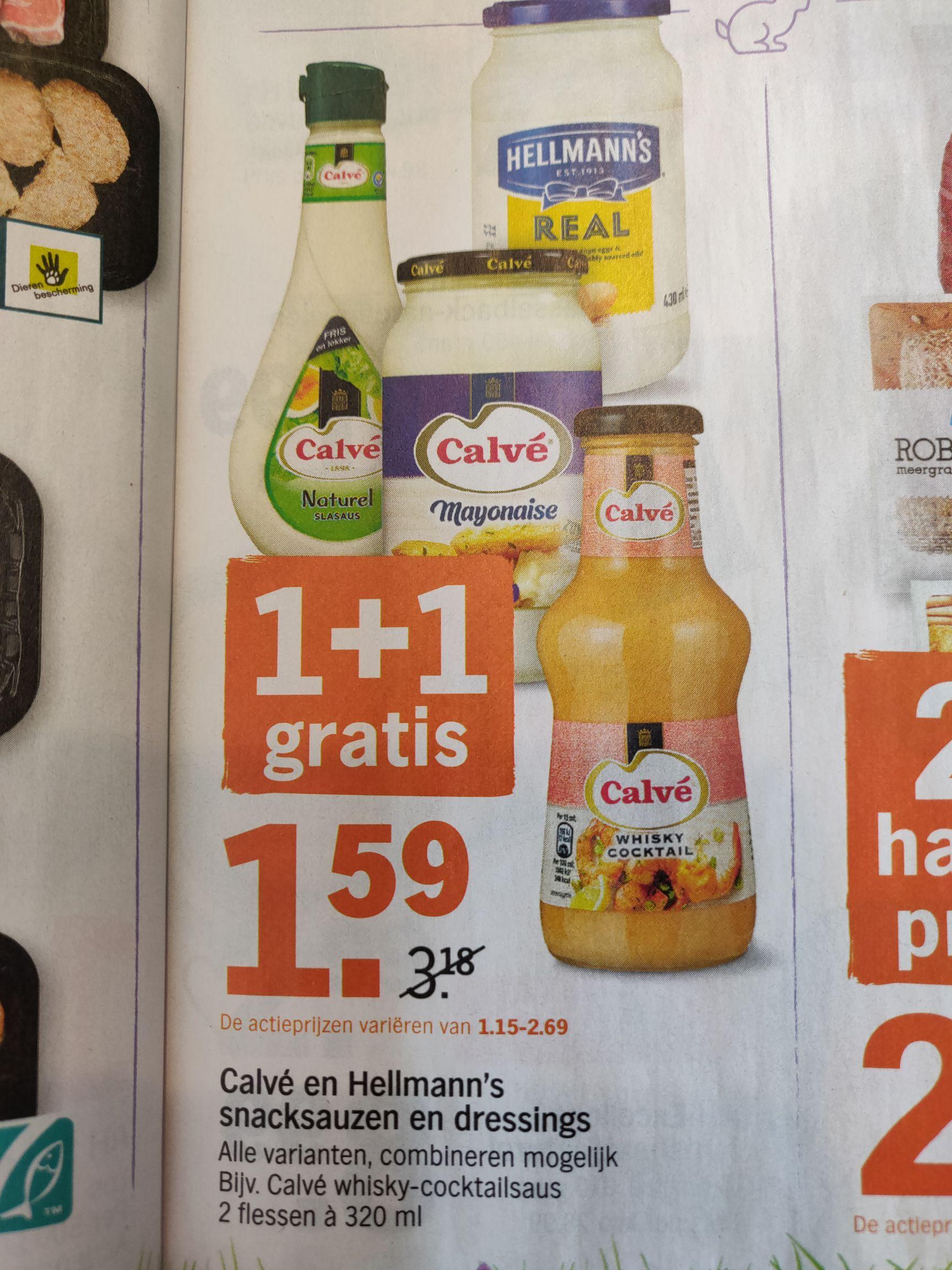 Alle Calvé en Hellmann's sauzen 1+1 gratis @Albert Heijn