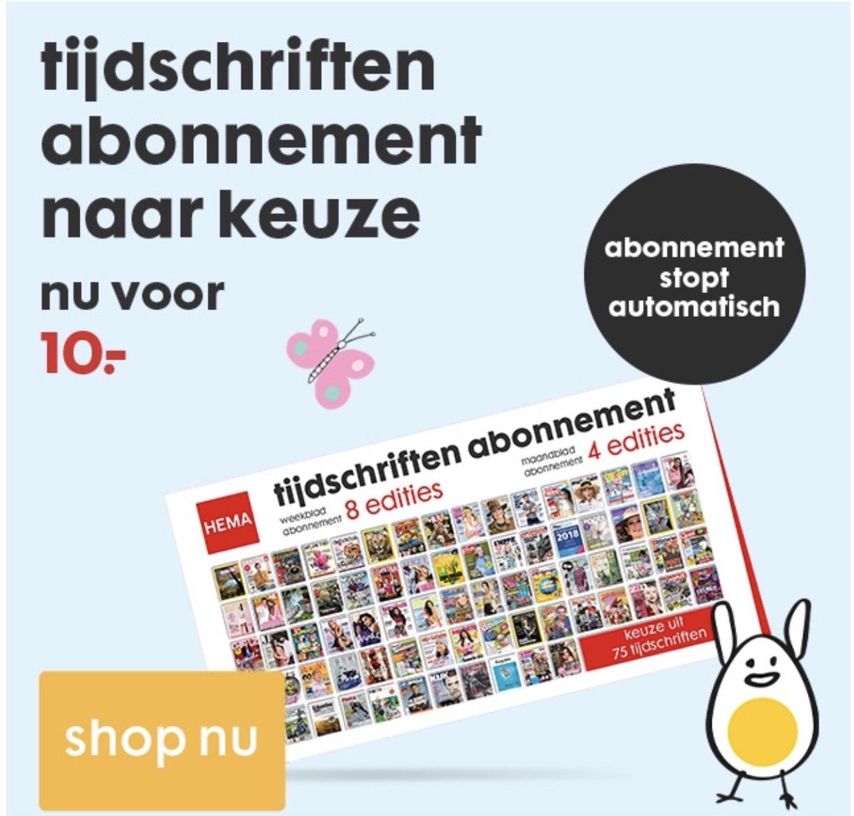 Hema tijdschriften abonnement 8 (week) of 4 (maand) tijdschriften voor €10