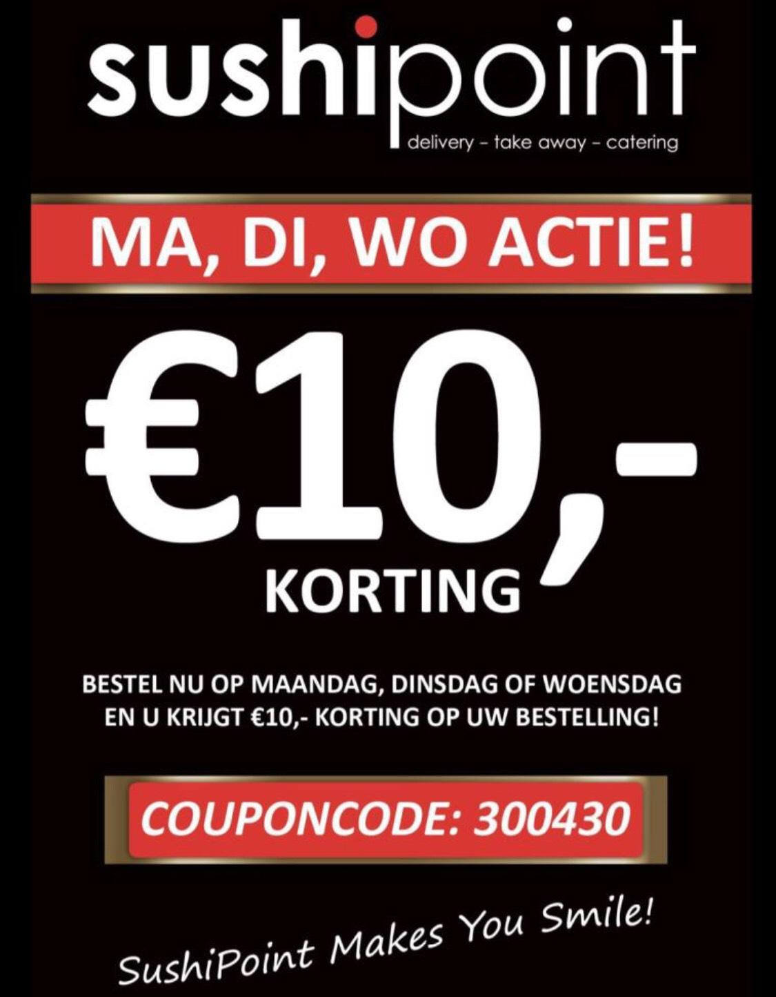 Sushipoint 10,- korting vanaf 25,- euro
