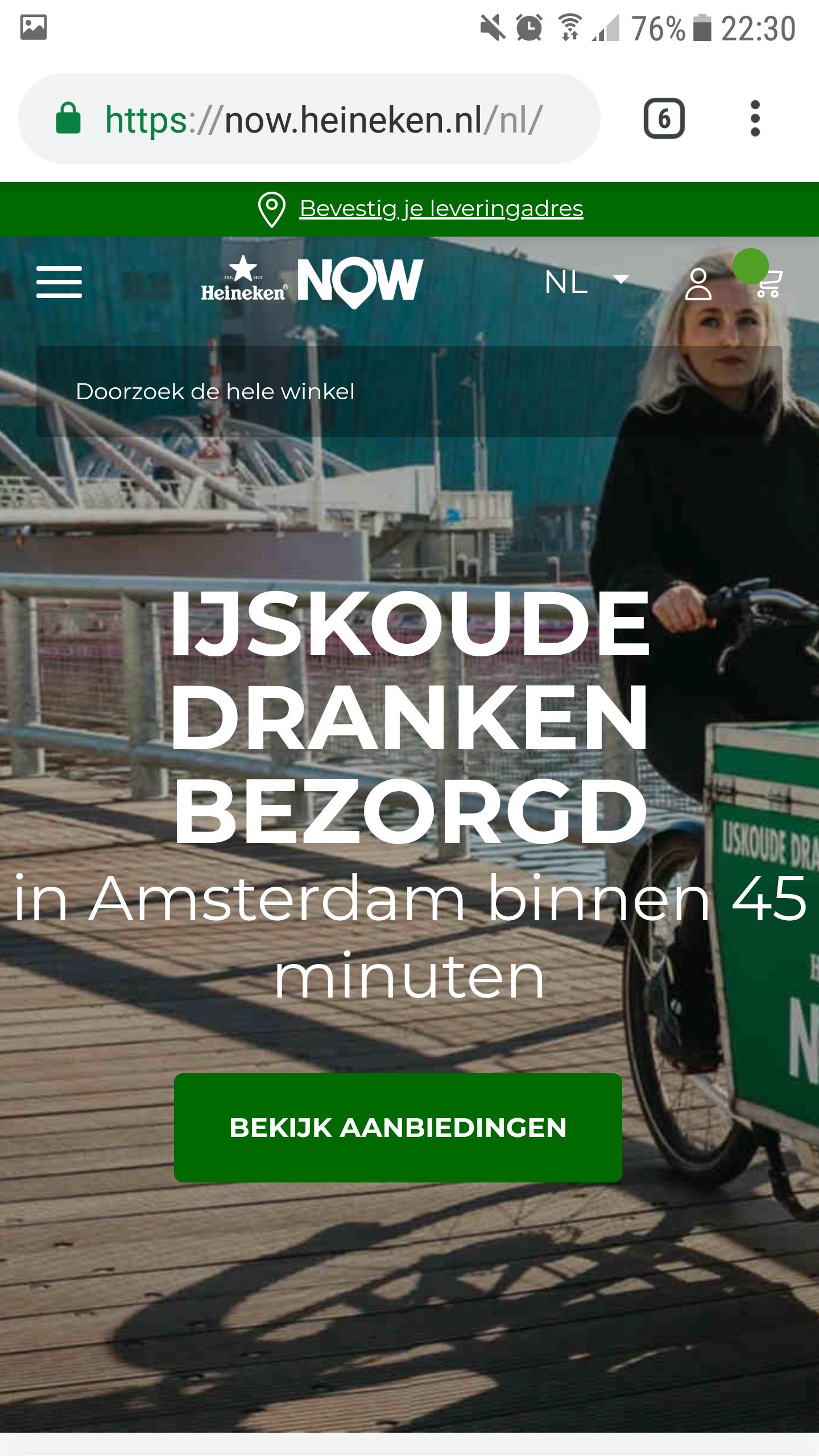 Krat Heineken bier ijskoud thuisbezorgd Amsterdam