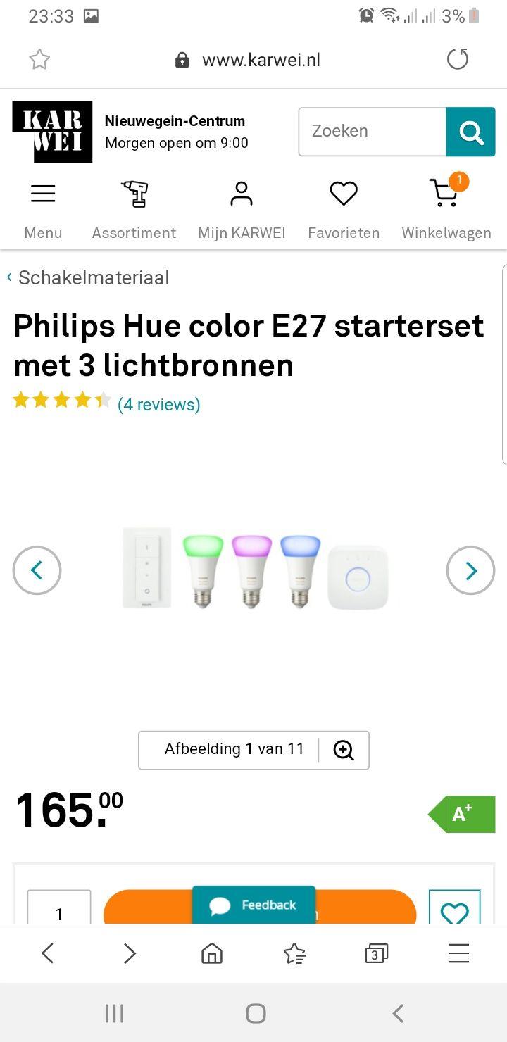 Karwei 20% keuzekorting ook op Philips Hue b.v. Philips Hue color E27 starterset met 3 lichtbronnen voor €132,-