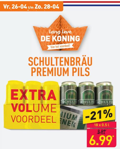 Schultenbräu Bier voor €6.99 (18 x 50 cl) @Aldi