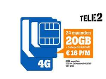 20GB Onbeperkt bel/sms 16€ pm