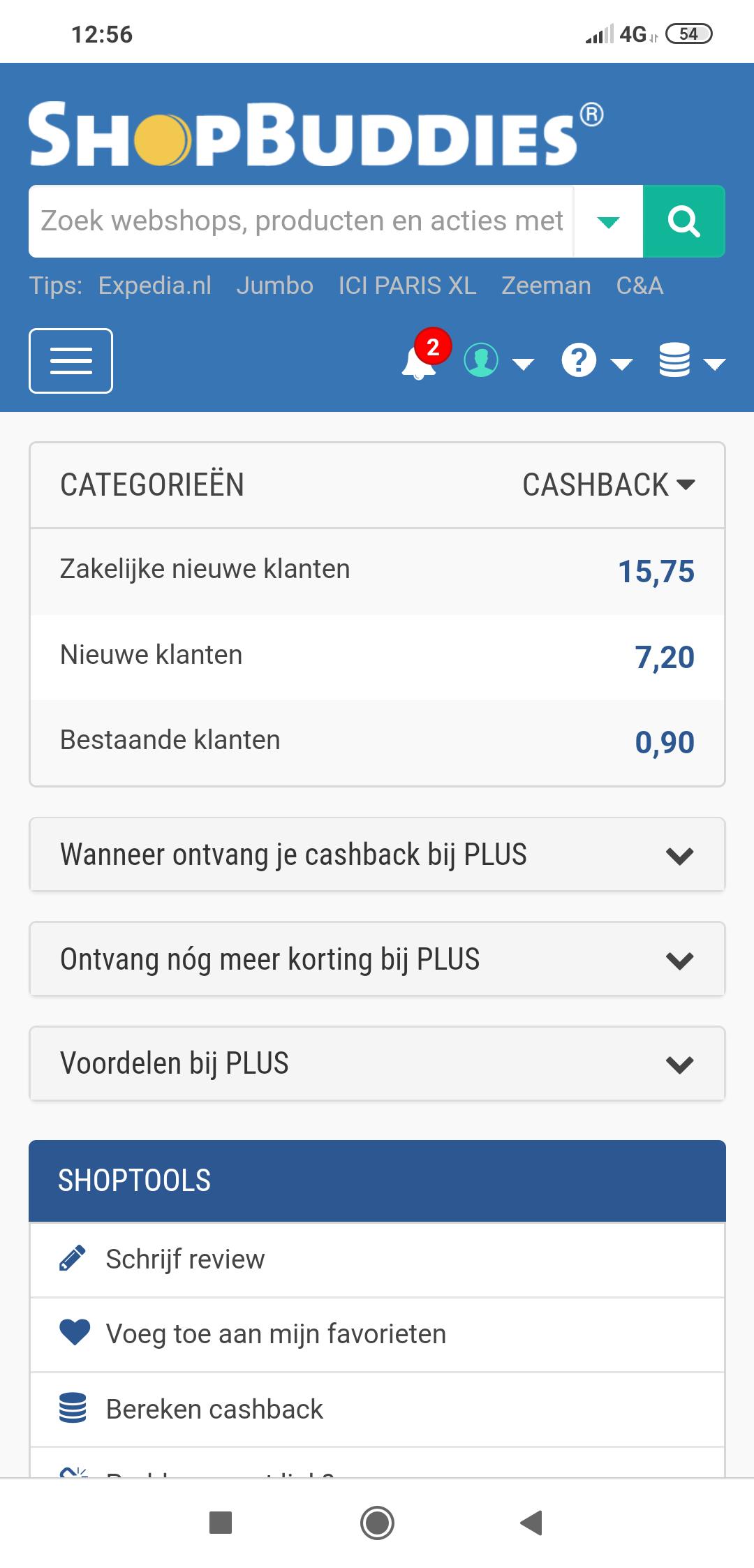 7,20 cashback bij PLUS (nieuwe klanten) @ShopBuddies
