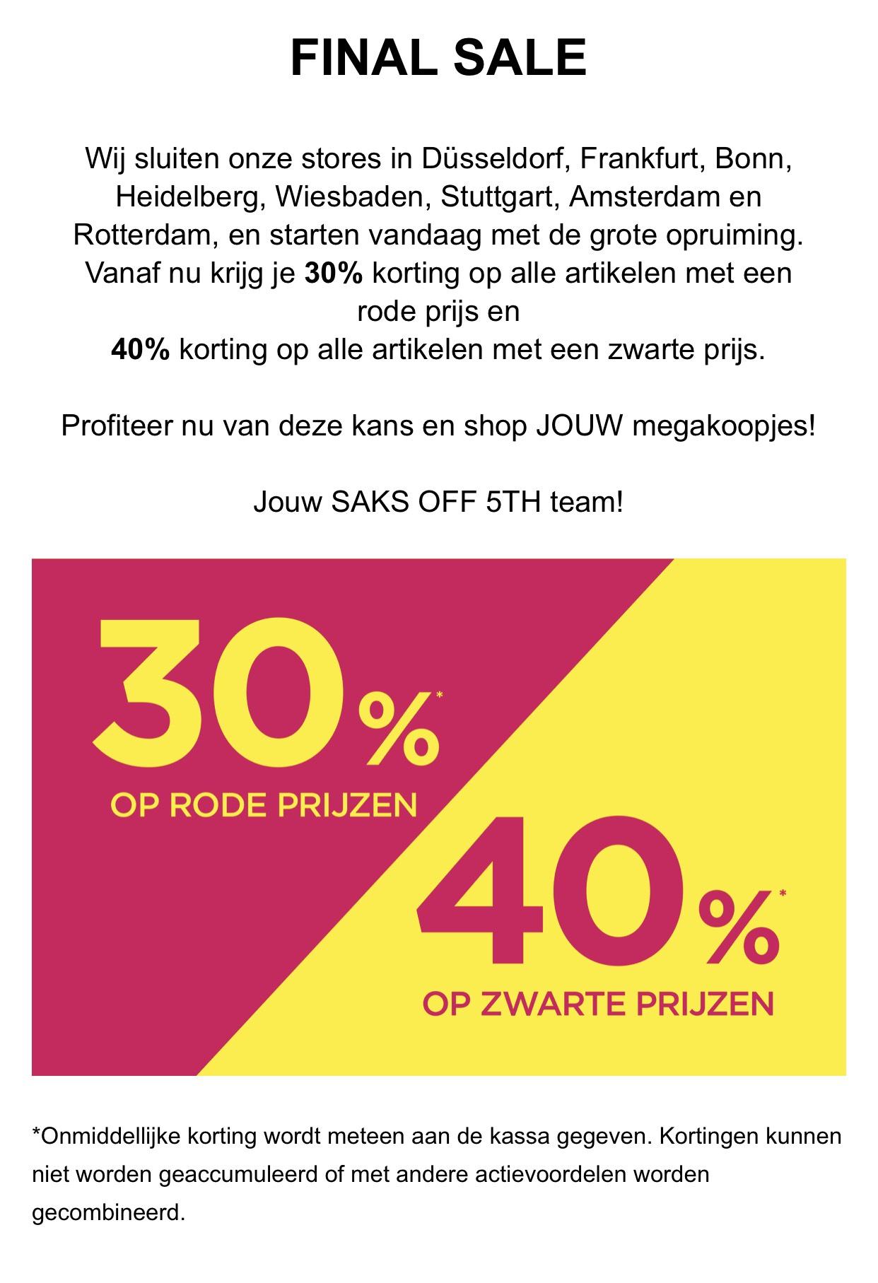 30% of 40% extra korting bij Saks off 5th!