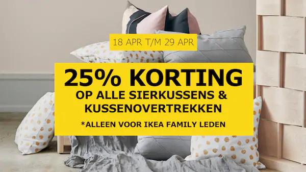 25% korting op sierkusssens & kussenslopen