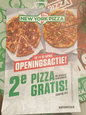 2e pizza gratis New York pizza in Capelle