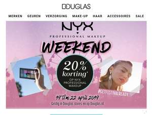 Douglas 20% korting op NYX make up