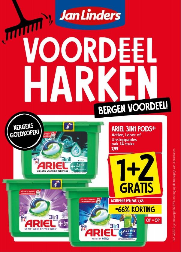 Jan Linders: 1+2 gratis Ariel 3 in 1 pods+  (en op zaterdag en zondag ook bij Albert Heijn)