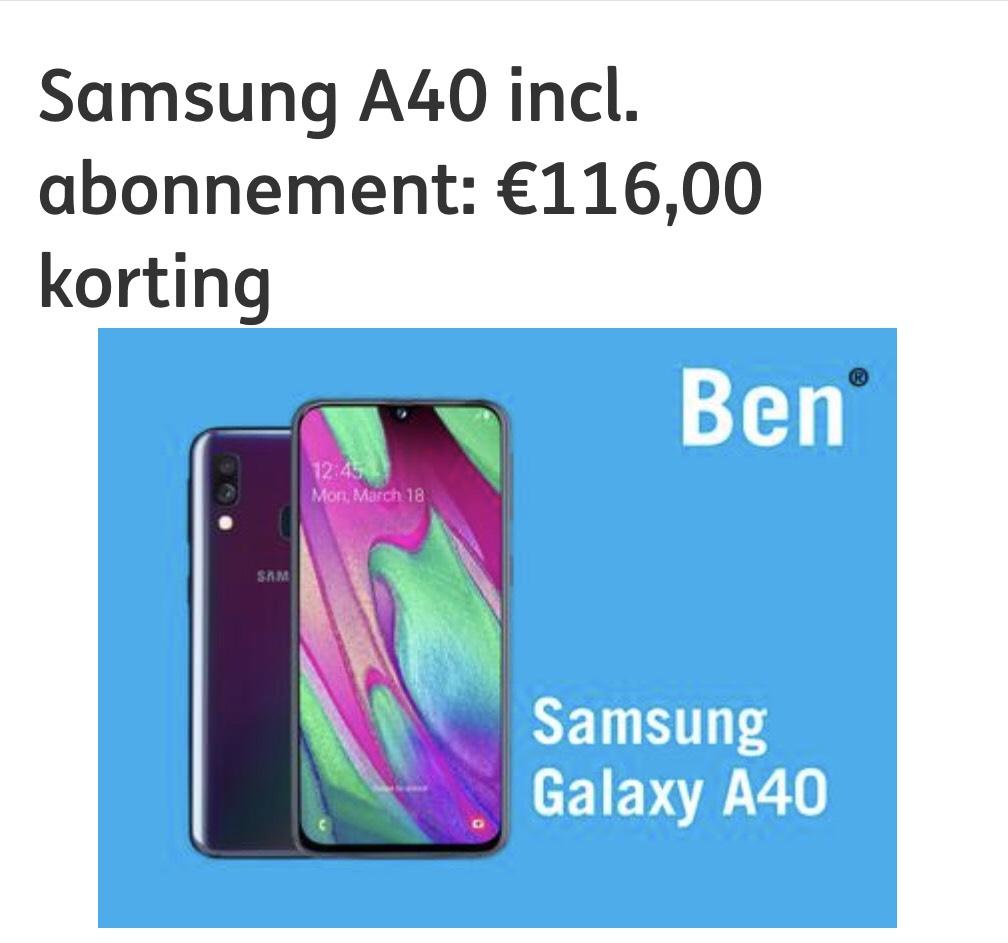 €116 euro korting icm ben abo met de Samsung A40