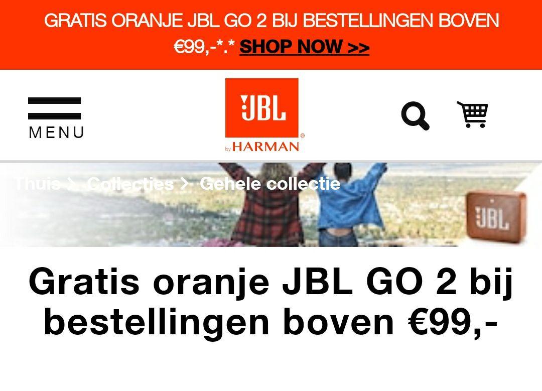 Gratis oranje JBL GO 2 bij bestelling boven €99,-