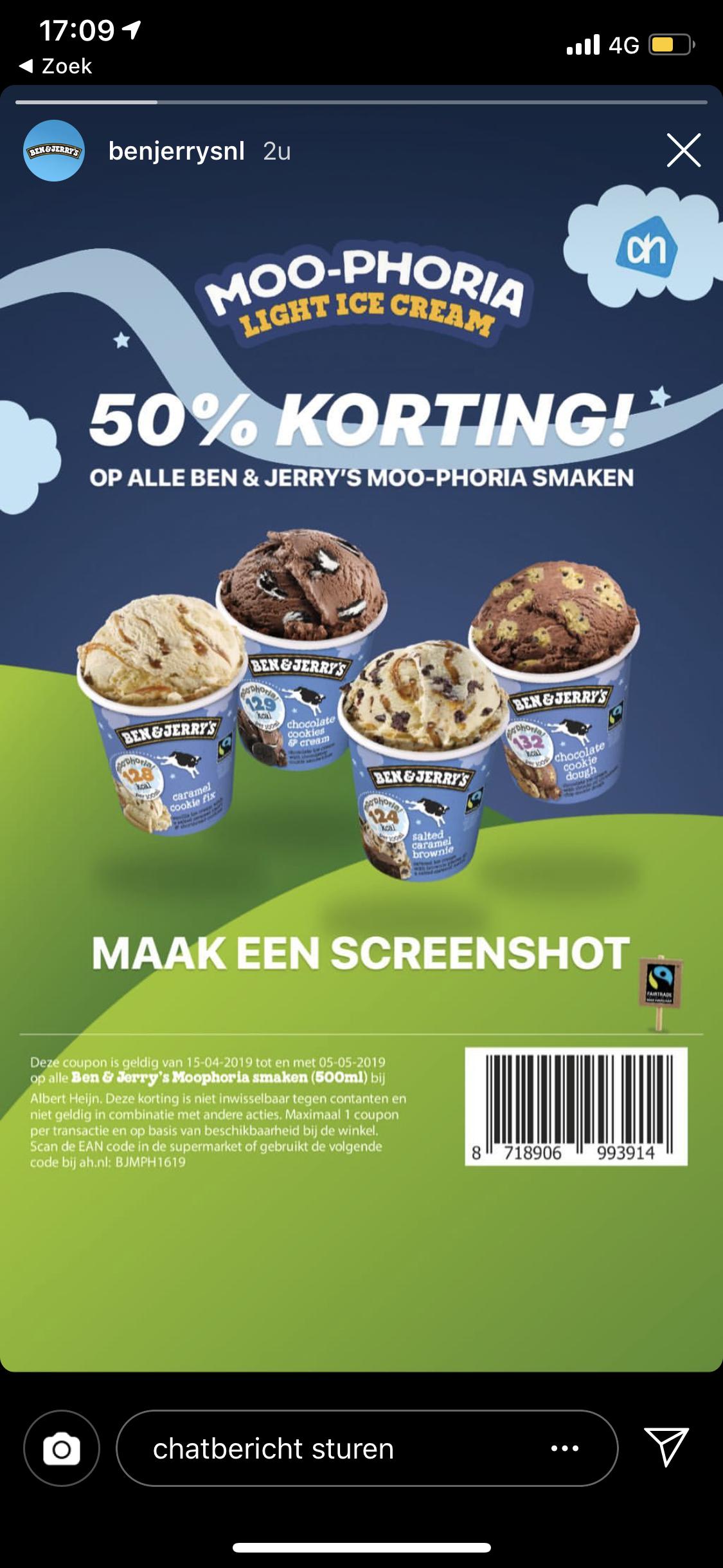 [Albert Heijn] 50% korting Ben en Jerry ijs Moophoria 500 ml