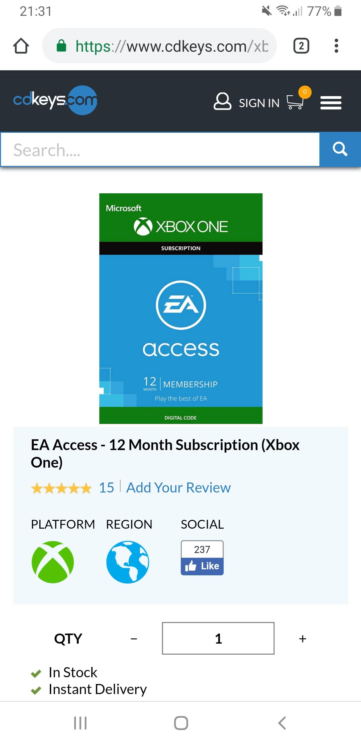 EA access 12 maanden