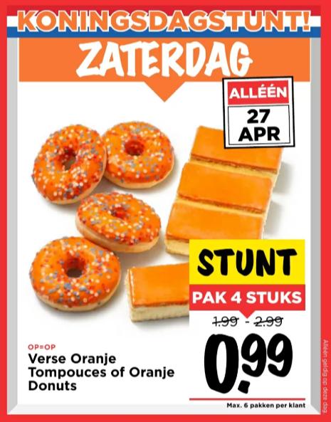 4 Verse Oranje Tompouces of Oranje Donuts @Vomar