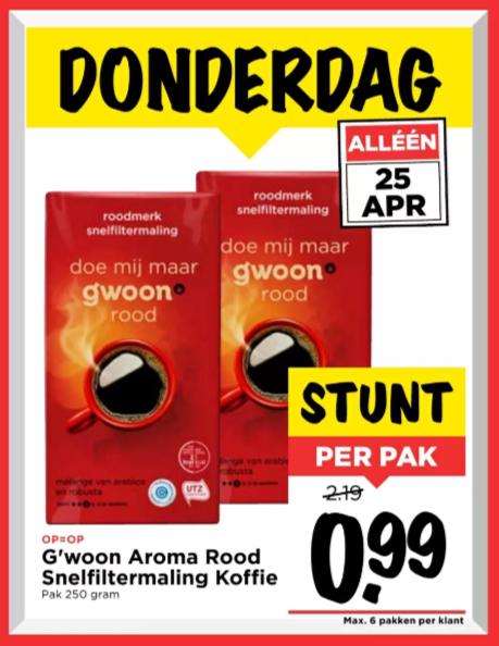 G'woon Aroma Rood Snelfiltermaling Koffie - Pak 250 gram @Vomar