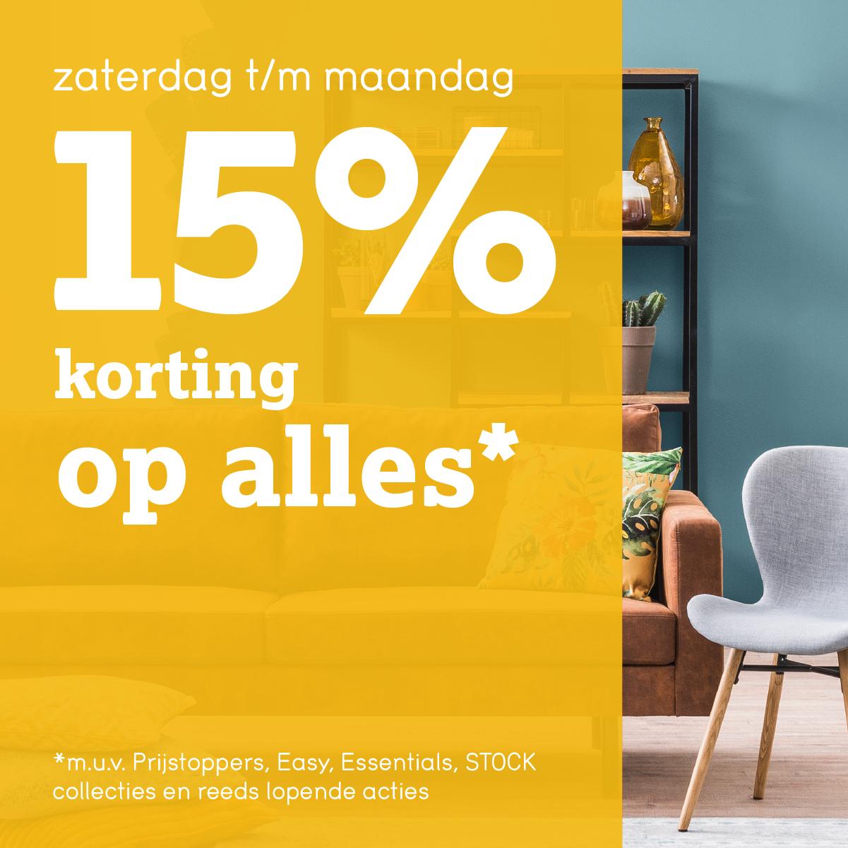 15% korting op bijna alles bij Leen Bakker