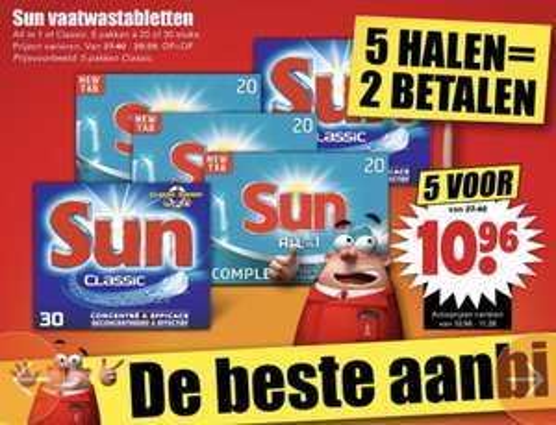 Veel top aanbiedingen! Bijv. 5 halen 2 betalen! Op Sun vaatwastabletten en Witte reus toiletblok @Dirk van den Broek