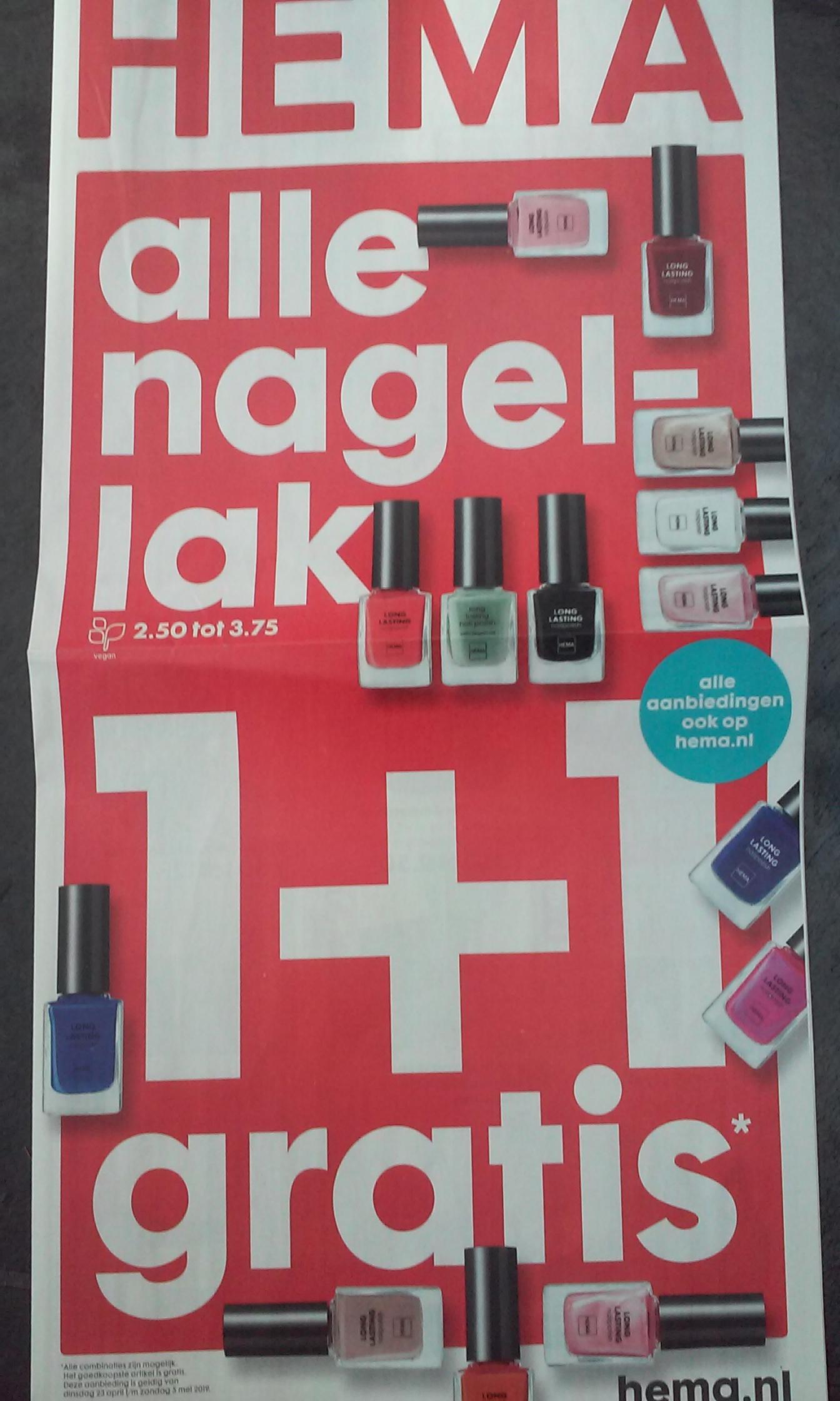 HEMA nagellak 1 + 1 gratis