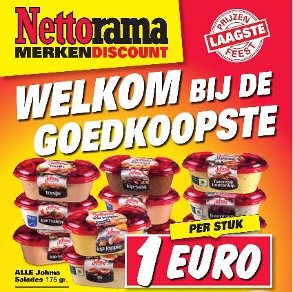 Nettorama: Alle Johma salades €1 per stuk