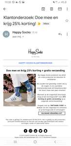25% Korting op happy socks na enquête