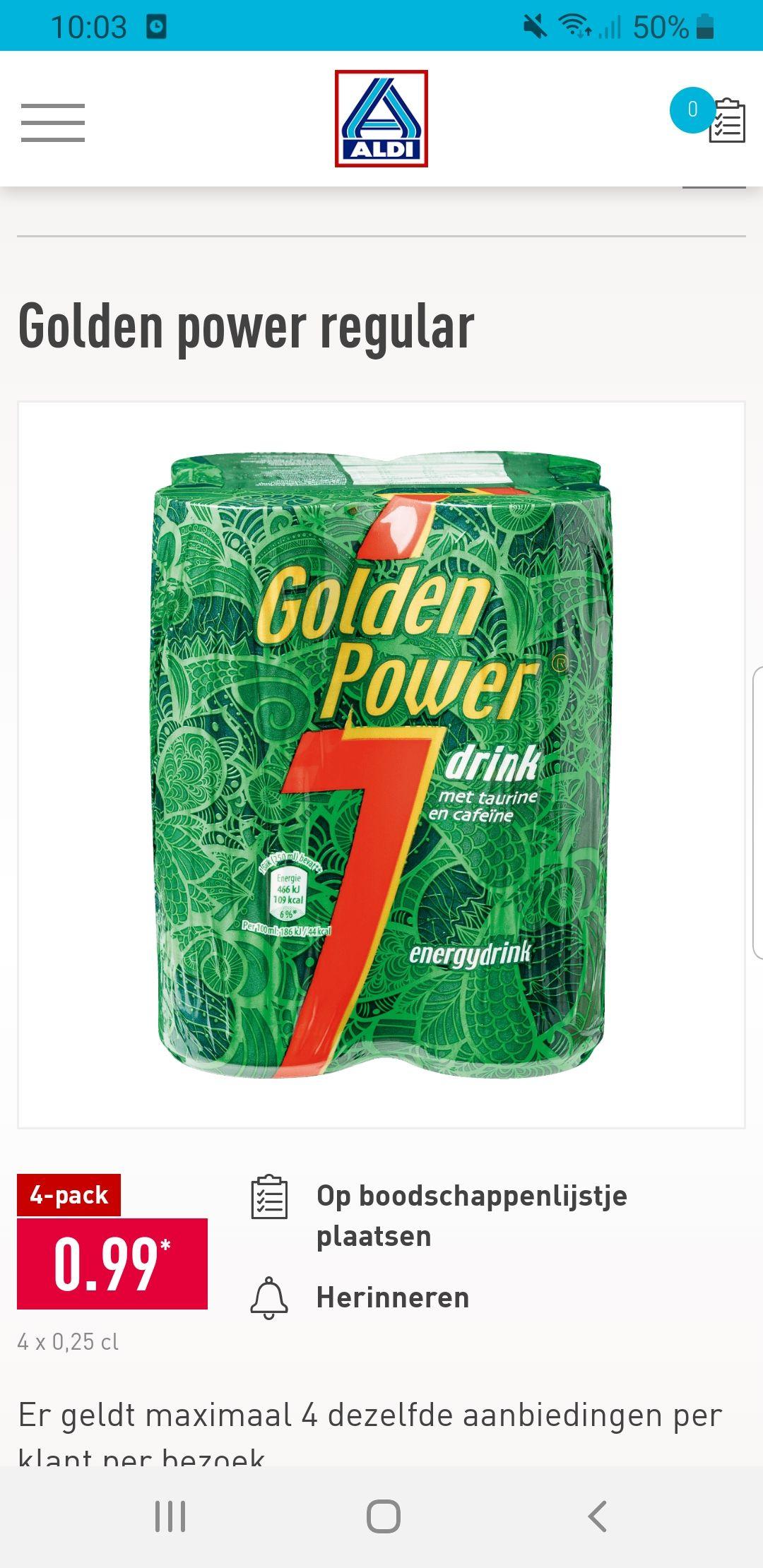 4 blikjes Golden Power voor 99 cent (= ruim 40% korting)