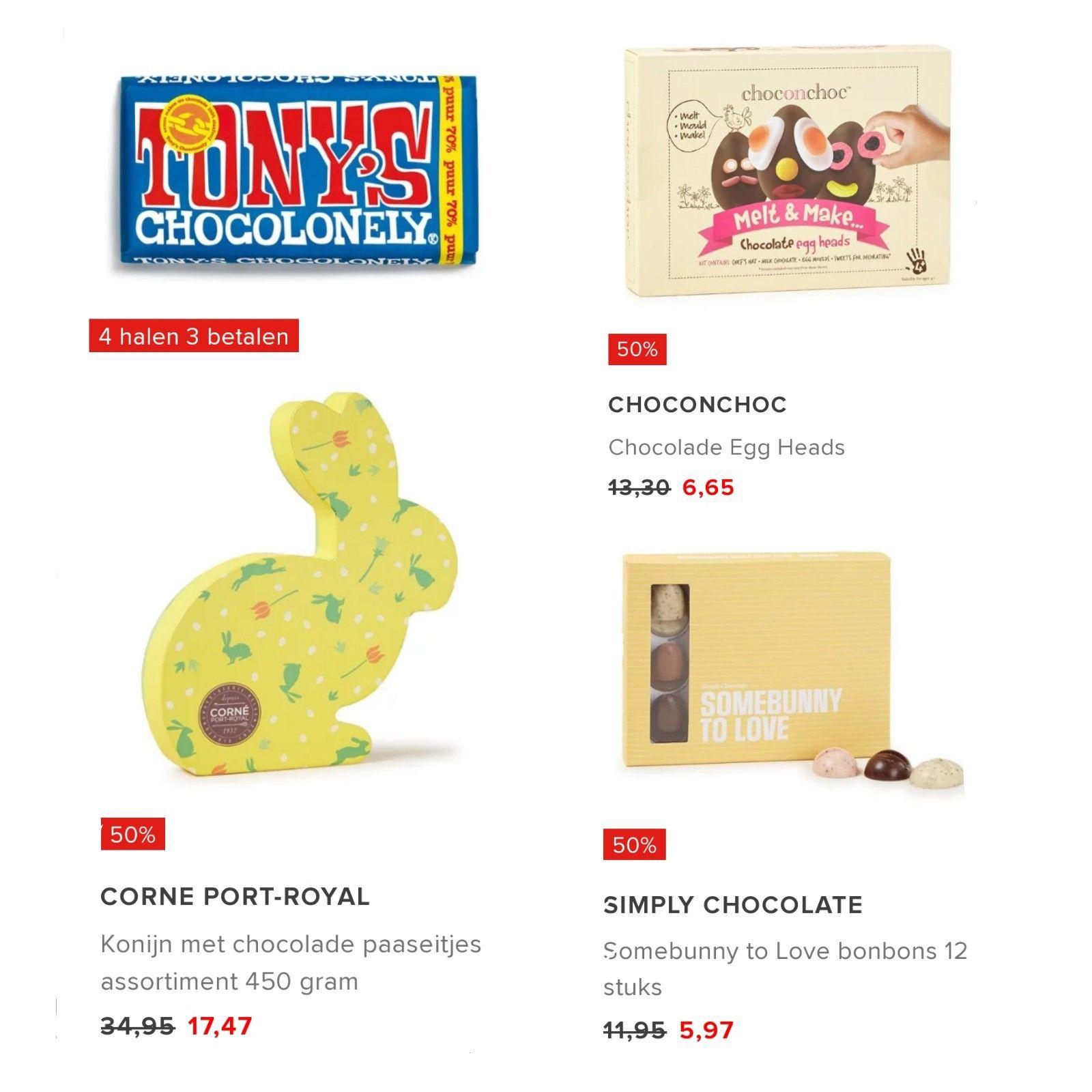 (50% korting) op Paas chocolade + gratis verzending @Bijenkorf