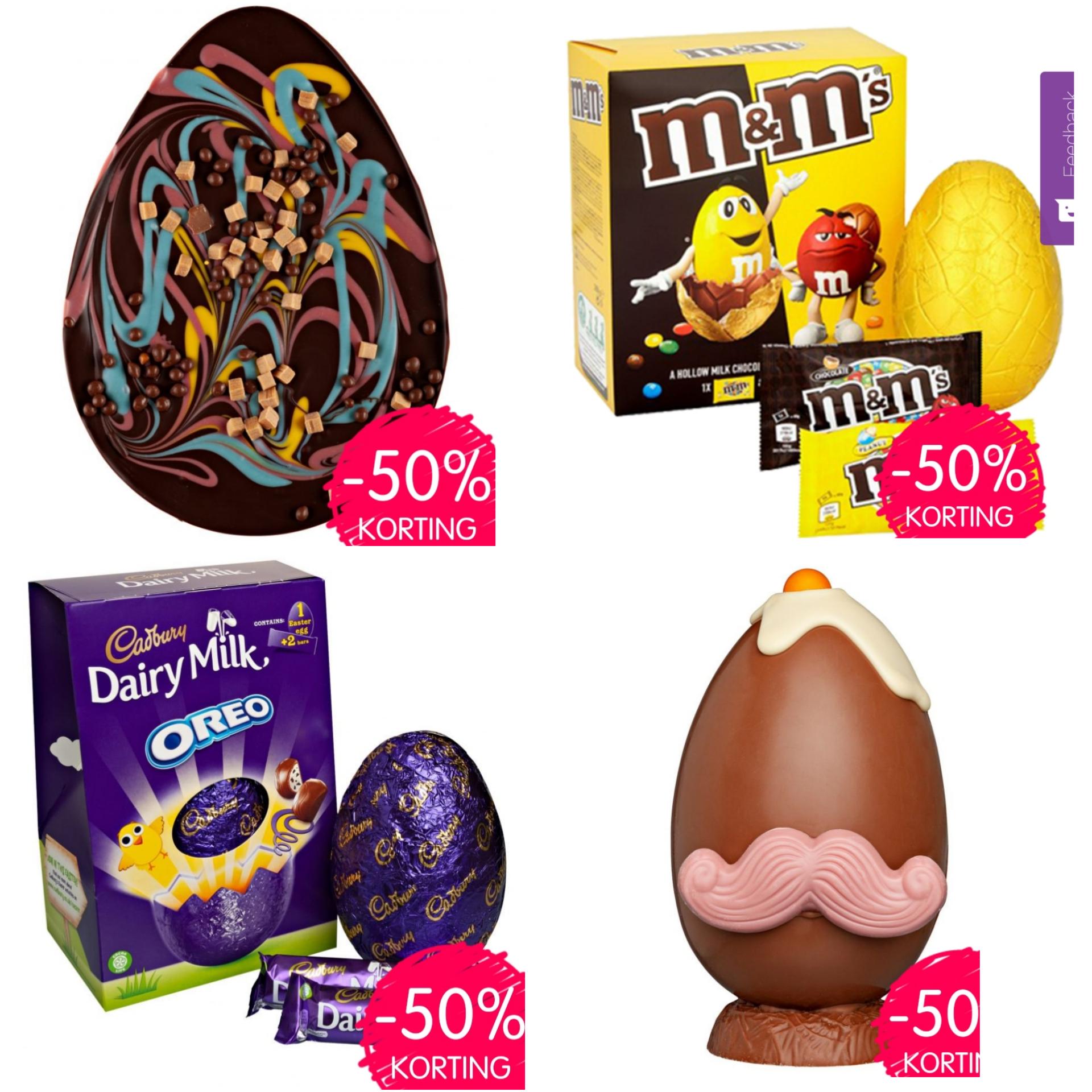 50% korting op alle paas chocolade @Jamin
