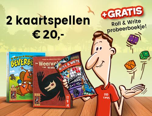 2 kaartspellen voor 20 euro + gratis Roll & Write boekje!