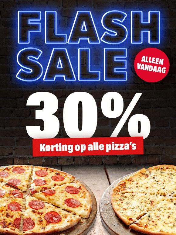Flash Sale: Alléén vandaag 30% korting op bijna alle pizza's @ Domino's