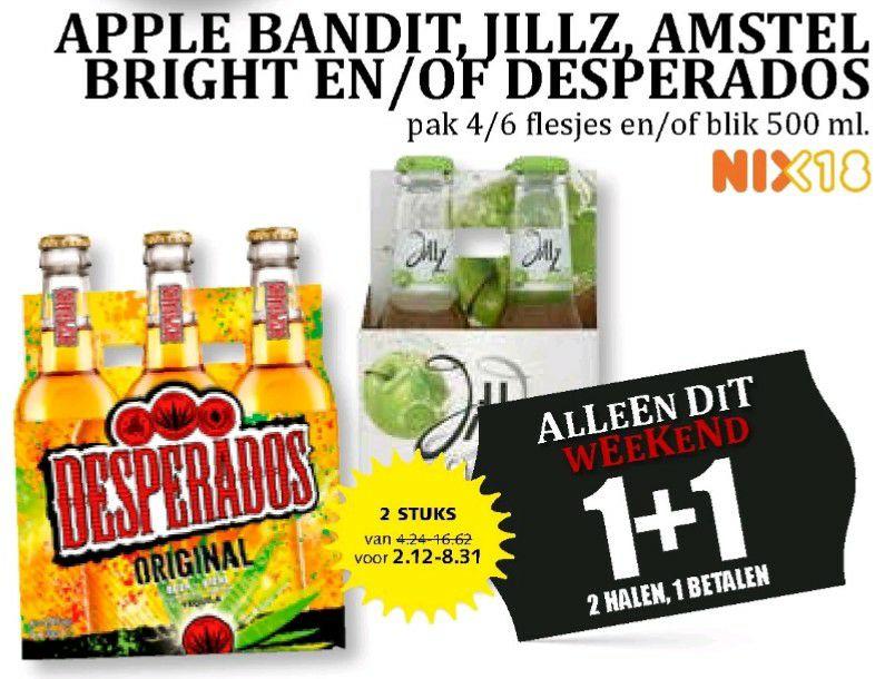 Desperados, Amstel bright, Apple bandit, Heineken blik of Jillz 1+1 gratis @MCD en Boons