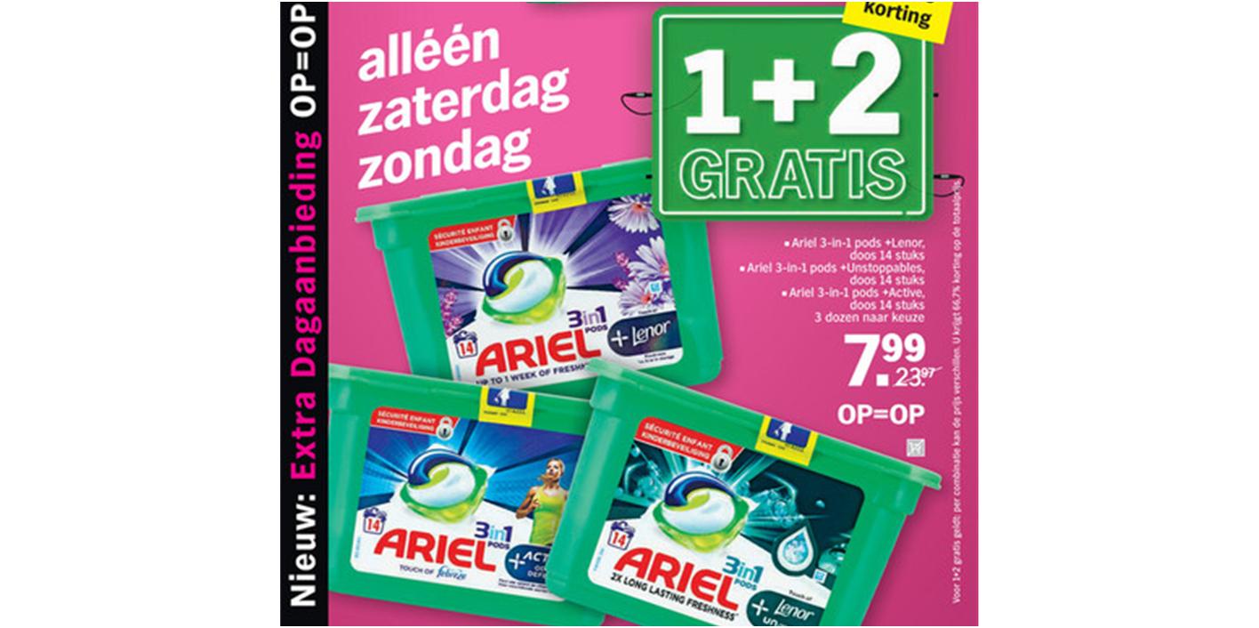 Ariël 3in1 pods 1+2 gratis (67% korting). Doos 14 wasbeurten. Diverse varianten.