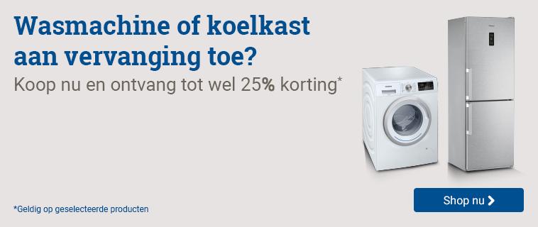 Tot 25% korting op wasmachines en koelkasten