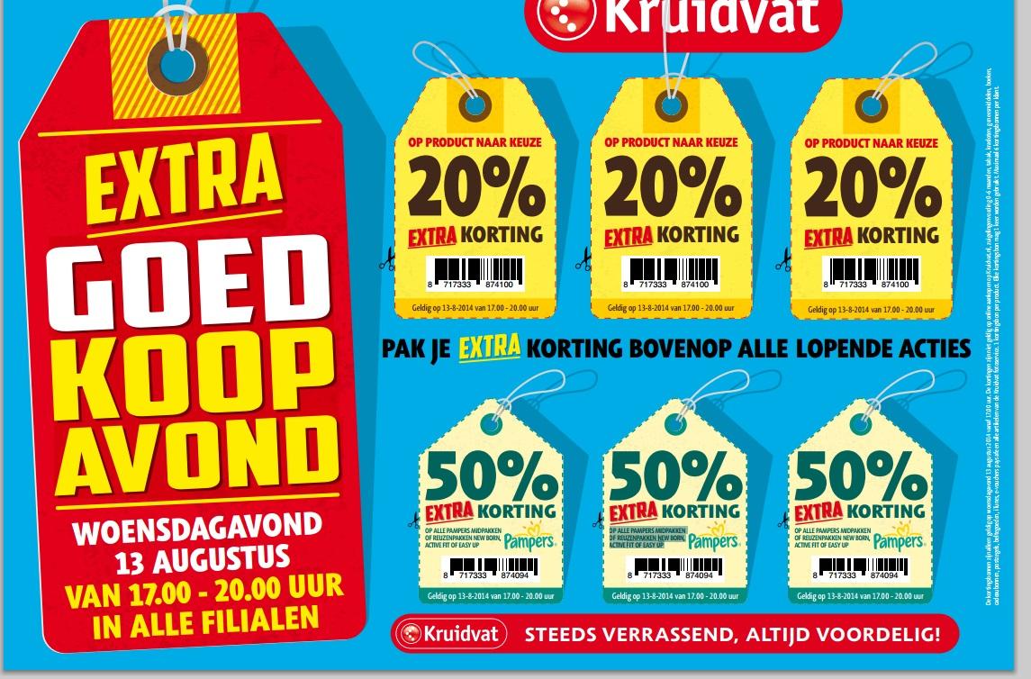 20% korting op producten naar keuze en 50% korting op Pampers door kortingsbonnen @ Kruidvat