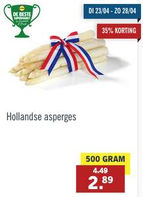 Hollandse asperges 500 gram voor 2,89