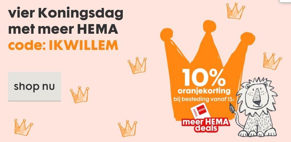 Nu 10% oranjekorting vanaf €15,- met je 'meer Hema klantenpas' t/m zondag