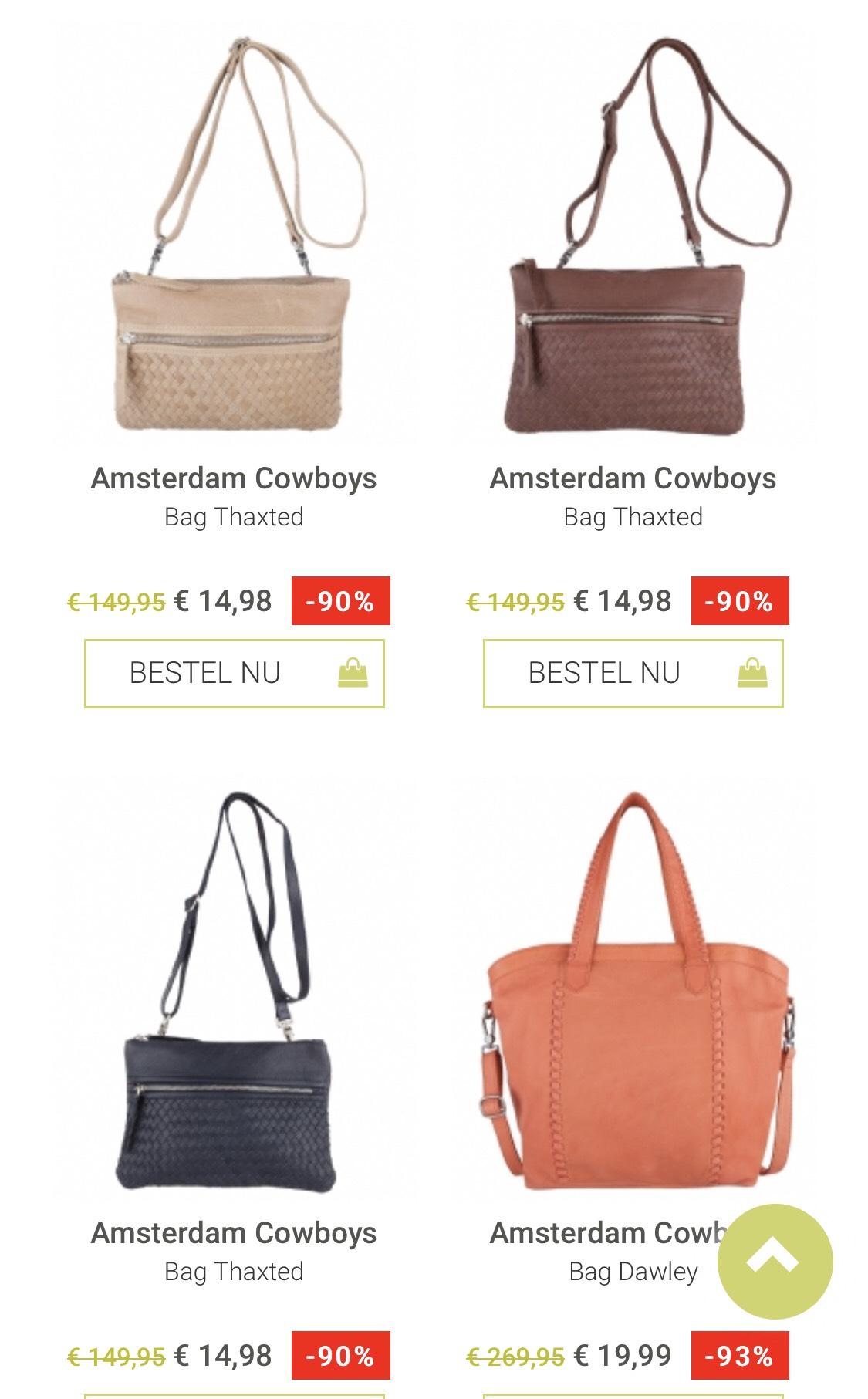 Amsterdam Cowboys leren tassen vanaf €14,98 @ The Little Green Bag