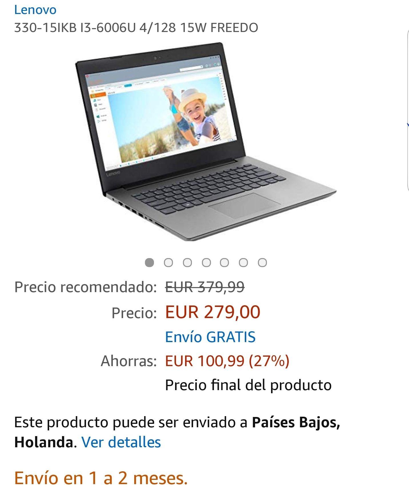 Lenovo 15-IKB i3-6006U / 4GB / HD / 128GB SSD (Laptop) @Amazon.es