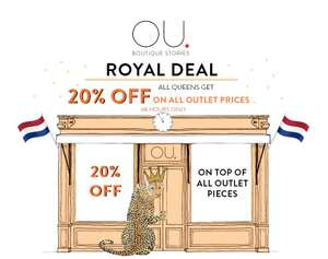 20% EXTRA korting op outlet (tot -70%) @ OU. Boutique Stores