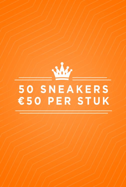 50 sneakers, €50 per stuk!