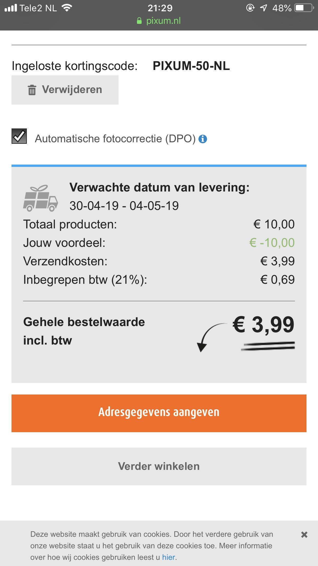 50 gratis foto afdrukken excl €3.99 verzendkosten @ pixum