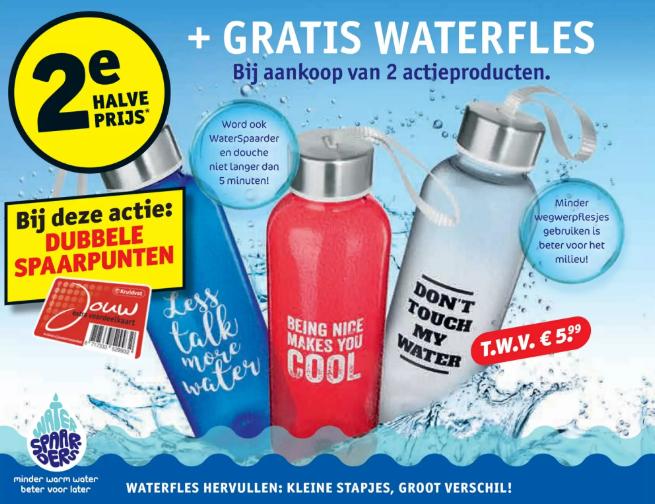 2e Actieproduct halve prijs + gratis waterfles + dubbele spaarpunten @Kruidvat