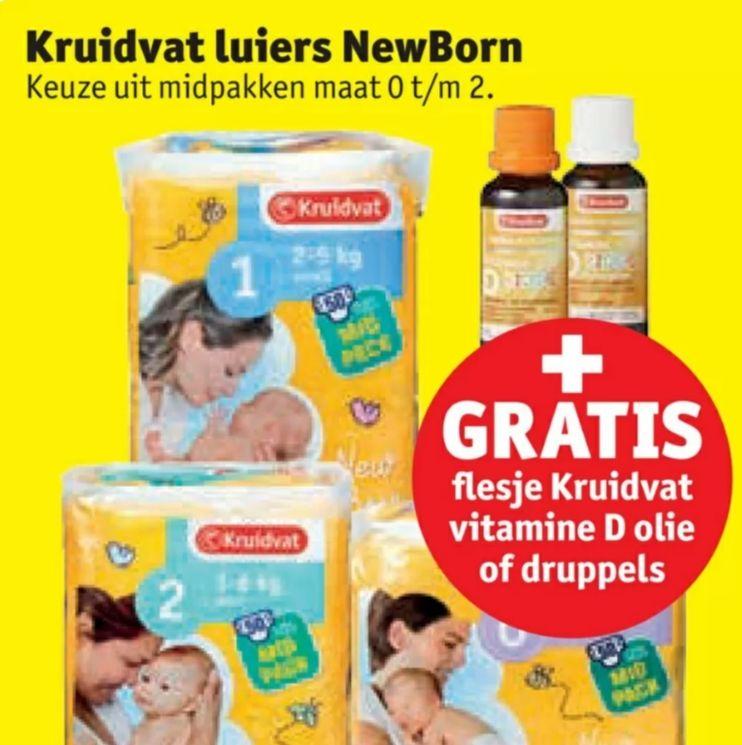 (Gratis Kids 0+ vitamine D olie of druppels t.w.v. €3,09) Bij Kruidvat NewBorn luiers @Kruidvat
