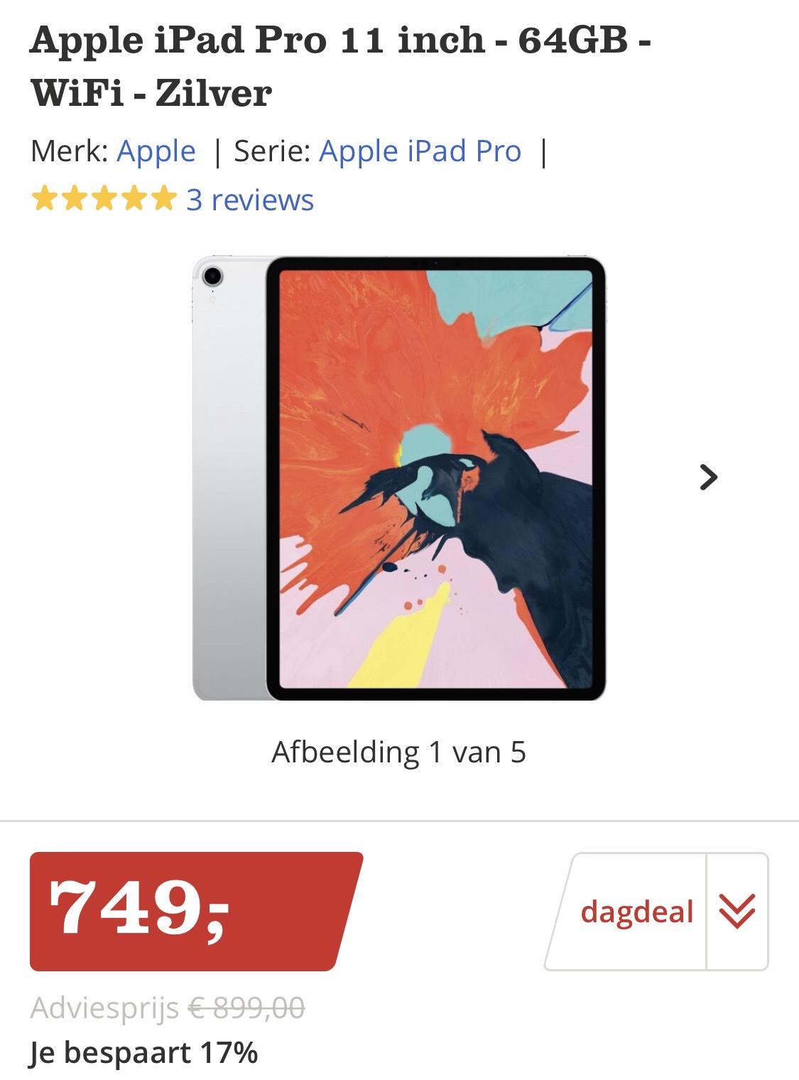 iPad Pro 11 inch - 64GB - Zilver - DAGDEAL €749