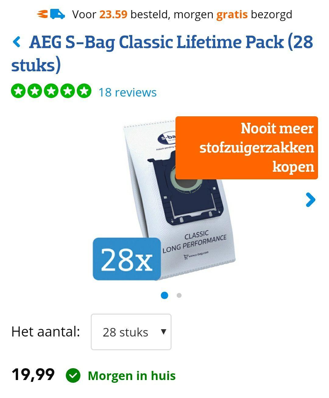Orginele S bag stofzuigerzakken voor a.o Philips & AEG bij Coolblue