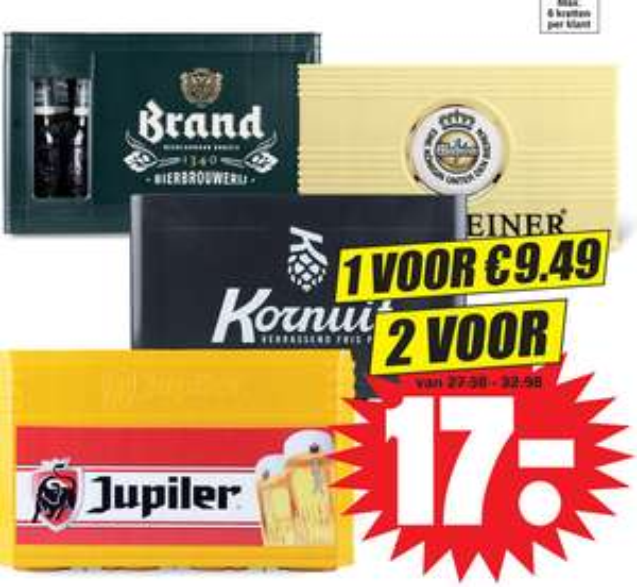 Dirk: 2x Warsteiner / Jupiler / Brand / Kornuit voor 17eur.