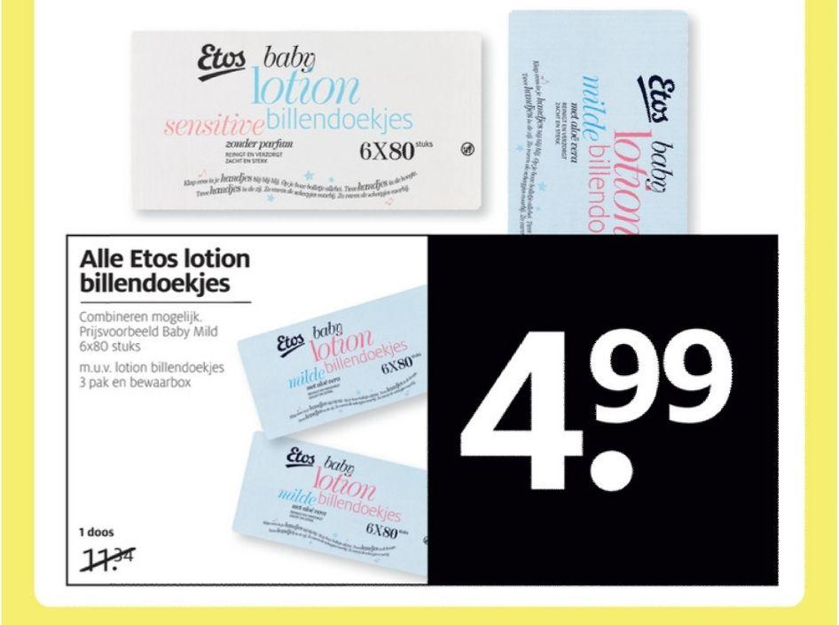 Alle Etos lotion billendoekjes 6 voor €4.99