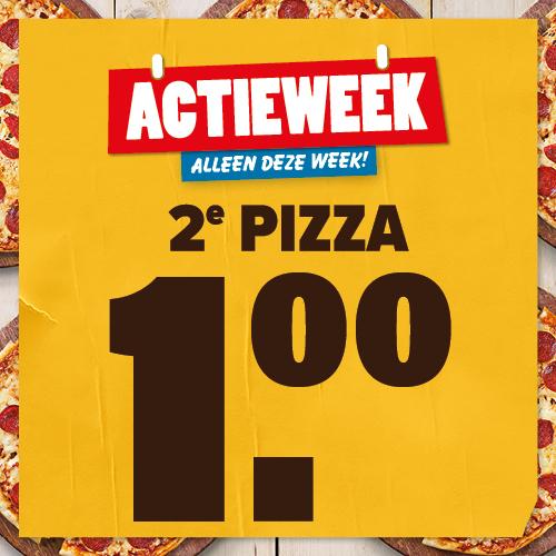 2e pizza voor €1,- bij afhalen @Domino's